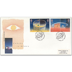 1991 Europa: Europe in Space - Royal Mail FDC - Cambridge FDI