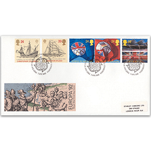 1992 Europa: International Events - Royal Mail FDC - Philatelic Bureau, Edinburgh