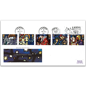 1992 Christmas - Royal Mail Cover - Leeds Lights Up Slogan