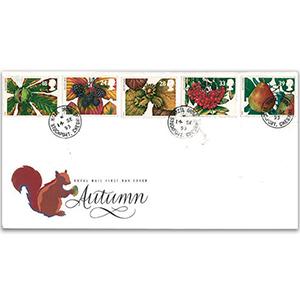 1993 Four Seasons: Autumn - Royal Mail FDC - Hazel Grove, Stockport CDS