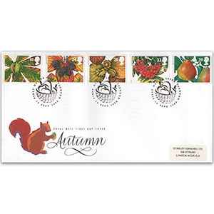1993 Four Seasons: Autumn - Fruits and Leaves - Taunton 'Basket' Handstamp