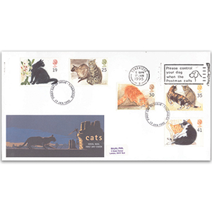 1995 Cats - Royal Mail FDC - 'Please Control Your Dog' Tonbridge Slogan