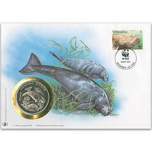 1995 Vanuatu - Dugong WWF Medal Cover