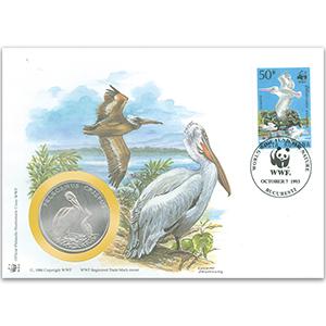 1993 Romania - Dalmatian Pelican WWF Medal Cover