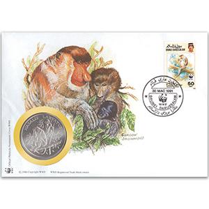 1991 Brunei - Proboscis Monkey WWF Medal Cover