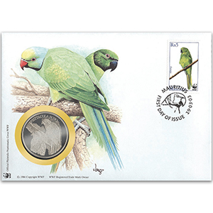 2003 Mauritius - Parakeet WWF Medal Cover