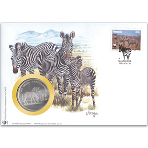 1991 Namibia - Mountain Zebra WWF Medal Cover