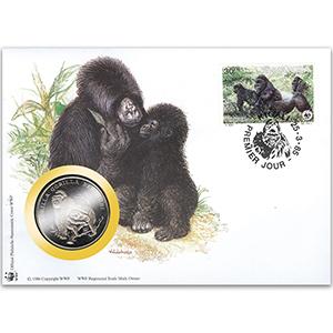1985 Rwanda - Mountain Gorilla WWF Medal Cover