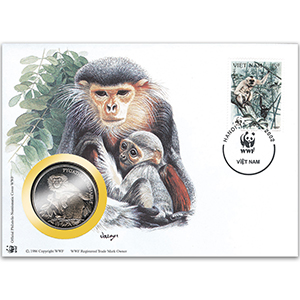 2002 Vietnam - Douc Monkey WWF Medal Cover