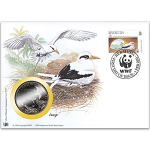 2001 Bermuda - White-Tailed Tropic Bird WWF Medal Cover