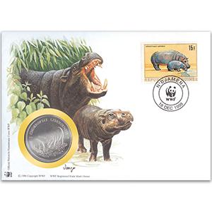 1998 Guinea Republic - Pygmy Hippo WWF Medal Cover