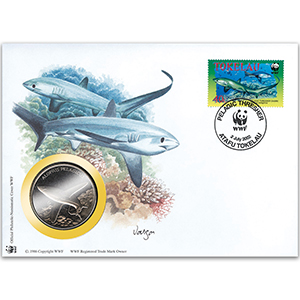 2002 Tokelau - Pelagic Thresher Shark WWF Medal Cover