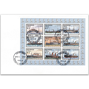 1997 Maldives sheetlet Historic ships 1893-1929