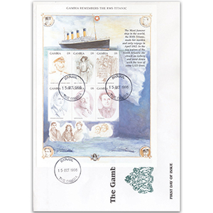 1989 First Day Cover - Gambia Remembers the RMS Titanic - Gambia