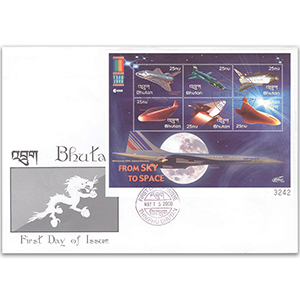 2000 First Day Cover - From Sky to Space - Miniature Sheet - Bhutan