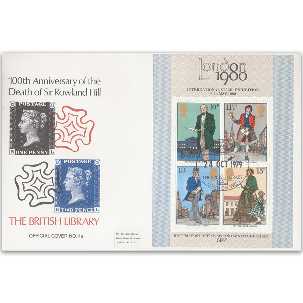 1979 Rowland Hill 100th M/S British Library Cover - Officials