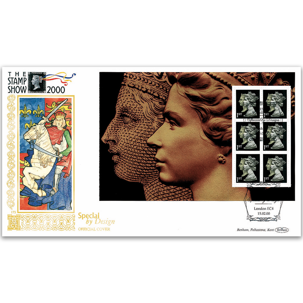 2000 The Stamp Show PSB Penny Black Pane GOLD 500 - Gold 500